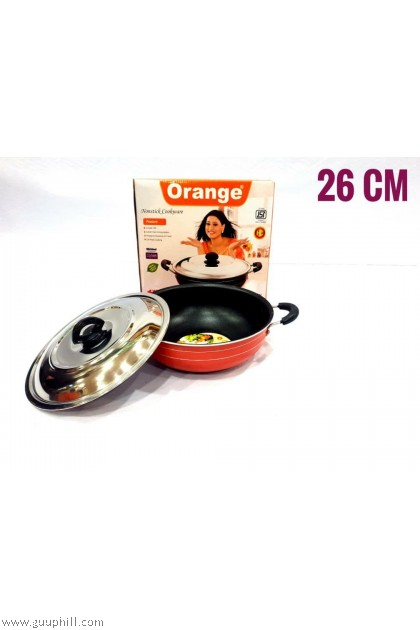 Orange Non Stick Cook Pan with Lid 26 cm G16025