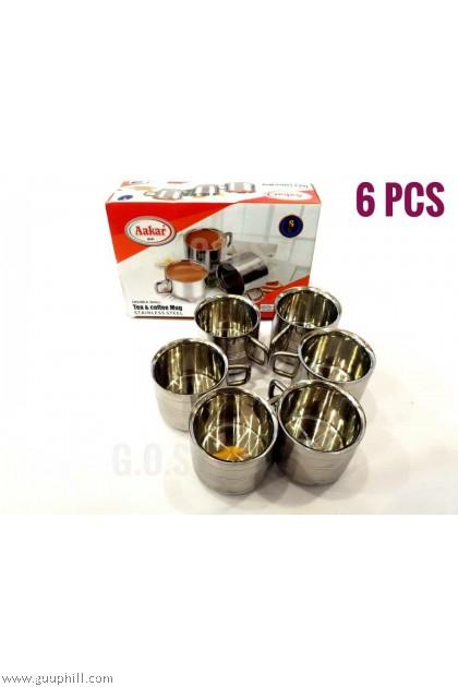 Aakar Stainless Steel Tea & Coffee Mug 6 Pcs G16091