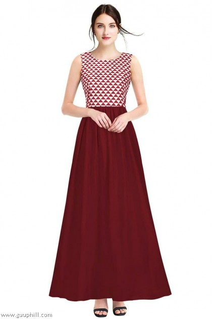 Women's Latest Exclusive Designer Dress G-Barbie gown Maroon G-85