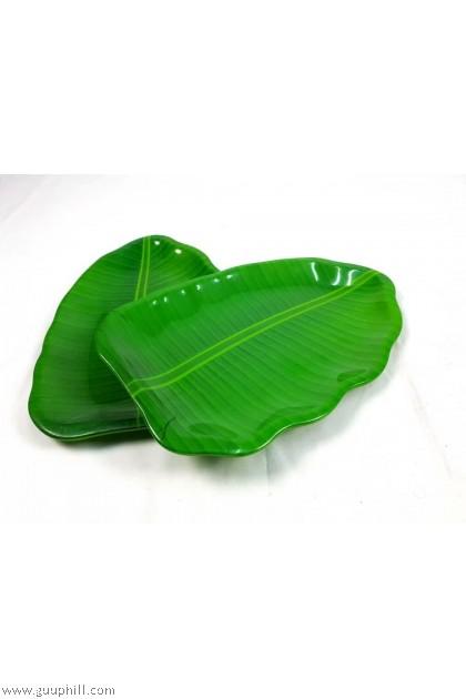 Plastic Banana Leaf Shape Plate 2 Pcs G17336